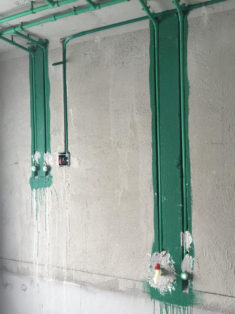 水电路改造有图片存档并做好提示线条,水电路改造按公司要求弹线,水路